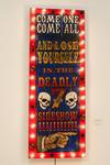 Brian Wiseman, Deadly 7 Sideshow Marquee, Paint on Wood with Lightbulbs