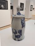 Sue Melton, Blue Jar, Ceramic Dillo White