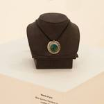 Wendy Pryne, Blue Sunrise Pendant on Leather Cord, Sterling Silver with Chrysocolla Cabochon